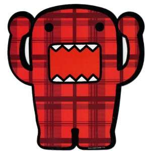Domo Japanese Cartoon Car Magnet   Red Plaid Hands Up Domo