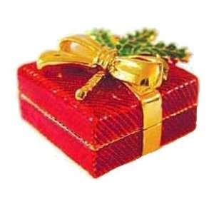 Red Holly Christmas Box Swarovski Crystals 24K Gold Jewelry, Trinket