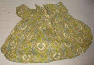 VINTAGE GREEN PAISLEY DOLL DRESS CIRCA 1950s