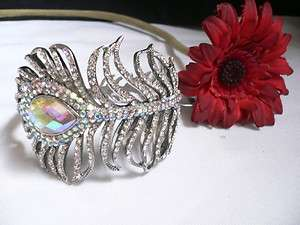 METAL GOLD CUFF BRACELET PEACOCK FEATHER COLORFULLY RHINESTONES DRESSY