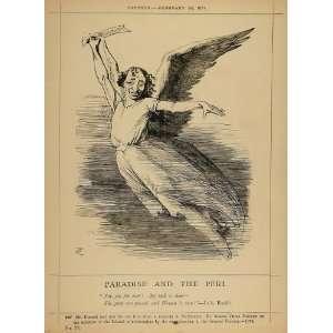 1878 Print Punch Cartoon Prime Minister Disraeli Angel   Original