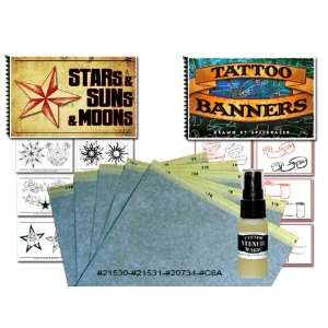Stars Suns and Moons and Banners Tattoo Books, Stencil Paper, Stencil