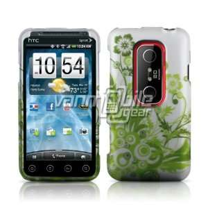 3D (Sprint)   White/Green Floral Design Hard 2 Pc Case Cover + Screen