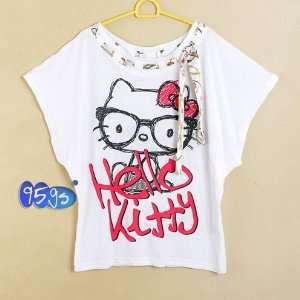2012 hot sale HELLO KITTY summer T Shirt (white)/ Size S
