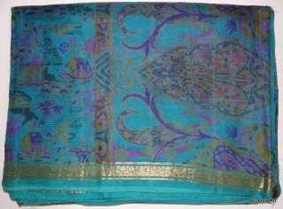 more Beautiful Print Indian Antique Vintage 100% Pure Silk Saree Sari
