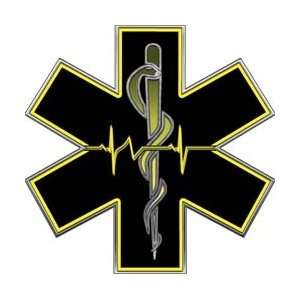 Yellow EMT EMS Star Of Life With Heartbeat   2 h