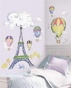 Paris Eiffel Tower Hot Air Balloon Wall Stickers Decals