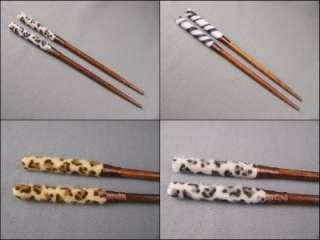 Animal print faux fur hair chop sticks picks pins 7 long brown wood