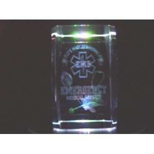 Laser Etched Crystal Cube Emergency Medical Services