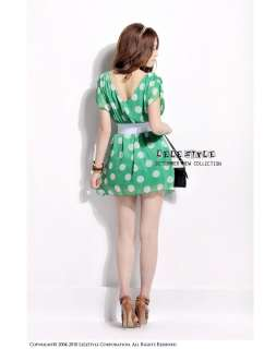 FASHION ON MOON FANCYQUBE CHIC POLKA DOT CHIFFON MINI DRESS + BELT