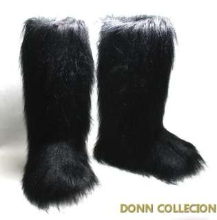 ESKIMO FAUX LONG FUR FURRY YETI BOOTS WHITE VINTAGE WARM WINTER SNOW