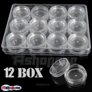 12 Nail Art Empty Storage Pot Bottle Plastic Box case