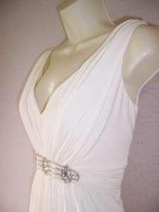 EVAN PICONE Ivory Beaded Stretch Jersey V Neck Spandex Cocktail dress