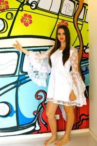 LACE White DRAPED Sleeve RUFFLED PARTY Wedding FORMAL Dress MINI 8 10