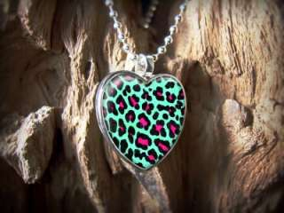 Leopard Animal Print Pink Kitty Cat Retro Sterling Silver Heart