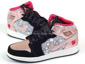 Nike Girls Air Jordan 1 Phat GS Black/Pink Cherry 2012 Valentines Day
