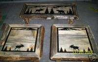 Rustic Blue Pine Log Coffee & End Table Set w/ Moose & Bear Wildlife
