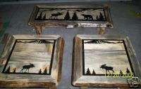Rustic Blue Pine Log Coffee & End Table Set w/ Moose & Bear Wildlife