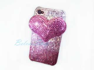 Bling Crystal 3D Pink Heart iPhone 4 / 4S Case using Swarovski