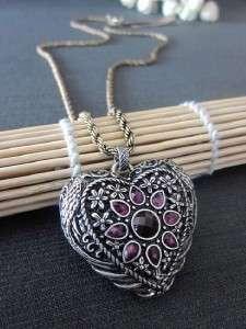 Lucky Brand Love Heart Shaped Pendant Necklace Earrings