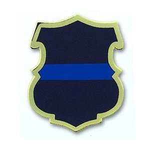 Thin Blue Line Police Shield Pin
