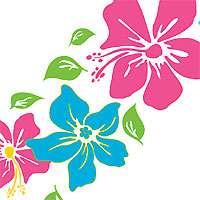 Tropical FLOWERS Girls PINK WALL PAPER/BORDER Stick ups
