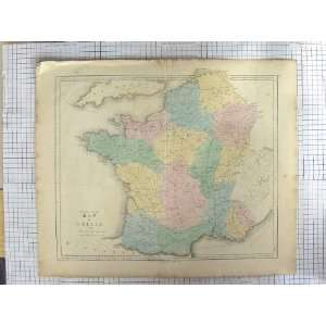GALL INGLIS ANTIQUE MAP c1870 FRANCE BAY BISCAY JERSEY