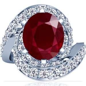 18K White Gold Oval Cut Ruby Fana Designer Ring Jewelry