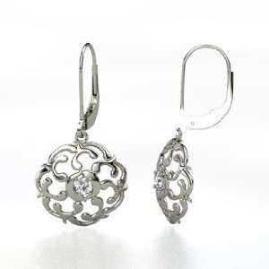 Thangka Earrings, 14K White Gold Earrings with Diamond Jewelry