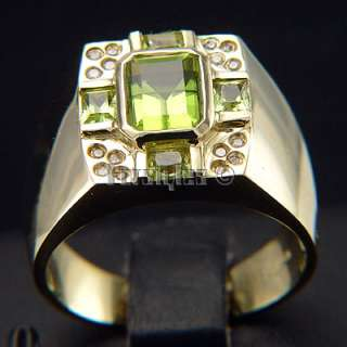 Natural Peridot Diamond 10k Solid Gold MensRing r00127
