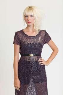 hip to the max indigo purple metallic maxi dress see through open knit