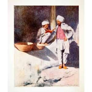 1912 Color Print Learned Man Peshawur India Costume