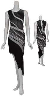 KIMBERLY OVITZ Urban Chic Silk Print Lines Dress 4 NEW