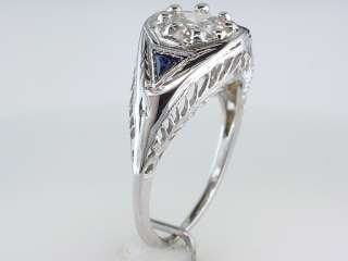 Vintage Antique Art Deco 1.10ct Diamond Sapphire 18K White Gold