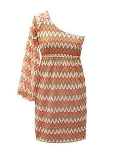 NWT Judith March One Sleeve Zigzag Crochet Dress