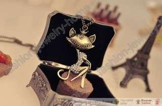 Fashion HOT Vintage Bronze Retro chain fox Necklace Pendant