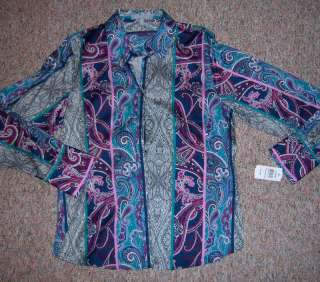 FOXCROFT Long Sleeve Paisley Print Shirt/Blouse   Sz 18
