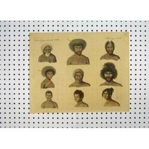 C1800 Colour Print Papuas Portrait Men Tribes Costumes