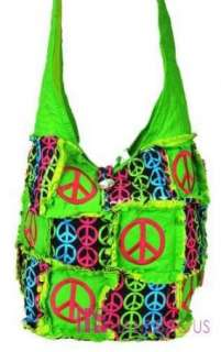 PEACE SIGNS RAG QUILTED PATCHWORK FRAYED COTTON CROSS BODY BAG HOBO
