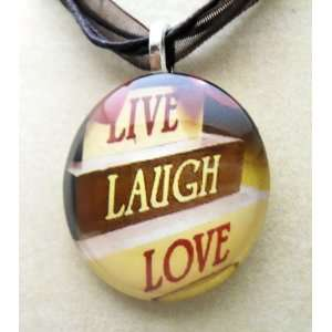 Round Live Love Laugh Glass Art Tile Fashion Necklace