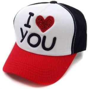 Black Red I Love You Bling Heart Baseball Hat Womens