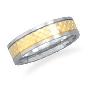 Stainless steel ring with 14 karat gold plated checker pattern. / Size