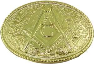 Gold MASON Belt Buckle Masonic symbol golden