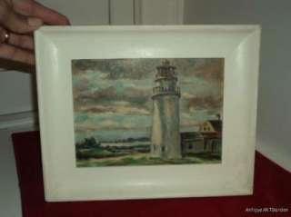 VINTAGE Lighthouse & Ocean SMALL Original Oil Painting Framed
