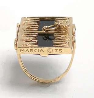 UNIQUE 14k GOLD BLACK ONYX BACKGAMMON BOARD RING