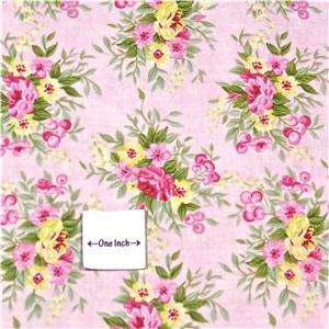 Northcott Cotton Fabric, Lovely Floral Bouquets on Pink, Fat Quarters