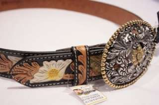 36 Nocona Western Crystal Belt Brown Leather very Trendy & Cool