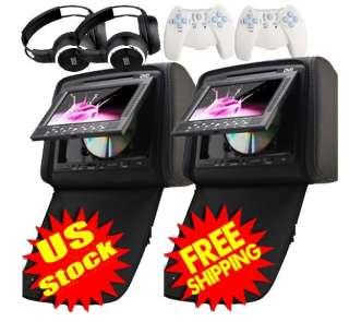 Inch Car Headrest DVD Player Radio TV Monitor+Headphones+Game Handles