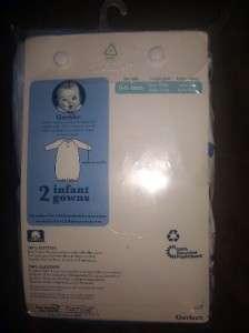 Gerber 2 Pack Boys Infant Gown Long Slv 0/6 Months