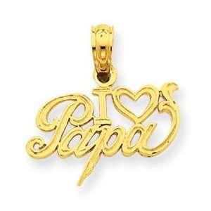 14k Yellow Gold I Heart Papa Pendant Jewelry